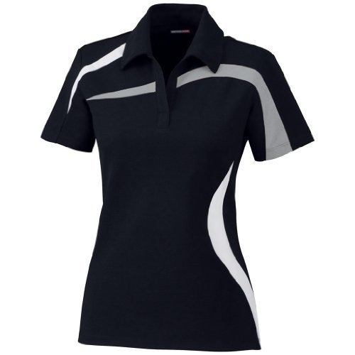 Ash City Ladies Impact Pique Color Block Polo (X-Large, Black/Grey Luster/White) by Ash City Apparel