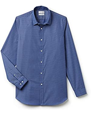 Lacoste Men's Men's Jacquard Cotton Blue Shirt in Size 44-XL Blue