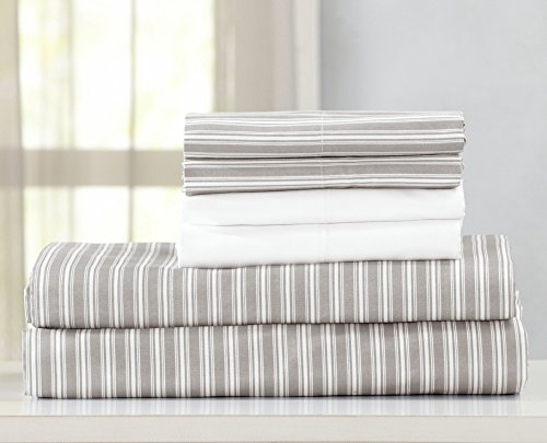 Egyptian Quality Double Brushed Microfiber Sheet Set. Hypoallergenic, Wrinkle & Fade Resistant Hotel Luxury Bed Sheets. Acadia Collection By Great Bay Home Brand. (Twin, Grey Stripe)