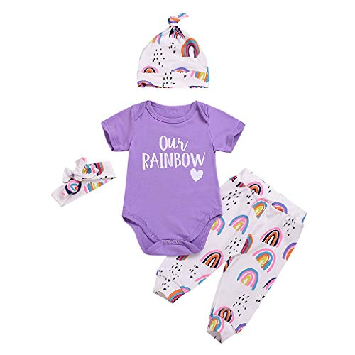 (LiLiMeng 2019 New Toddler Baby Short Sleeve Letter Romper+Rainbow Pants+Hat+Headbands Set Outfit Purple)