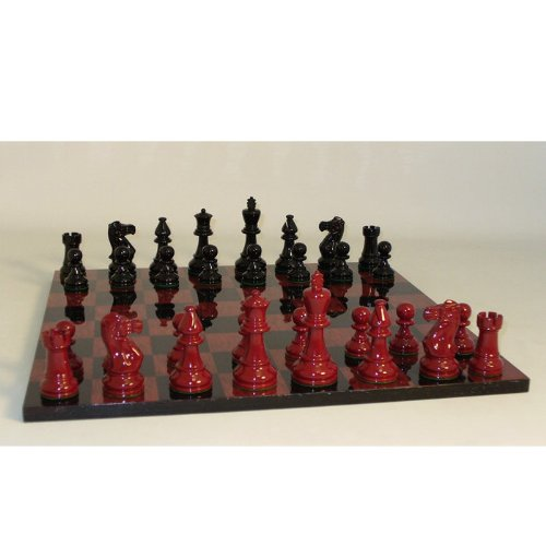 World Wise Imports Black and Red Boxwood Classic Chess Set in Glossy Finish on Black/Red Burlwood Veneer Glossy Board