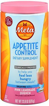 Meta Appetite Control Dietary Supplement Powder Sugar-Free Pink Lemonade Quench - 57 Servings, Pack of 2 by META