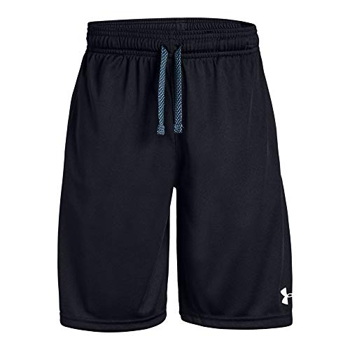 (Under Armour Boys' Prototype Wordmark Shorts, Black (001)/White, Youth Large)