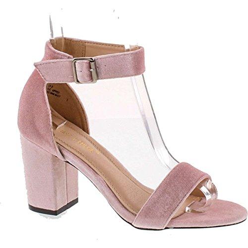 Chase & Chloe Carly-2 Women's Velvet Stacked Chunky Heel Strappy Platform Sandal,Pink (Chloe Strappy Sandals)