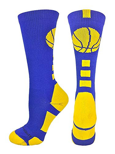 MadSportsStuff Basketball Logo Athletic Crew Socks, Medium - Royal/Gold
