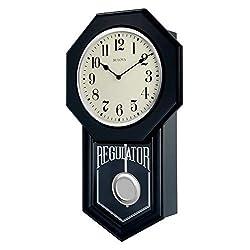 Bulova C1519 School Master Wall Clock, 18, Ebony Finish