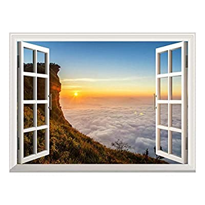 Removable Wall Sticker/Wall Mural - Majestic Sea of Clouds at Sunrise | Creative Window View Wall Decor - 36