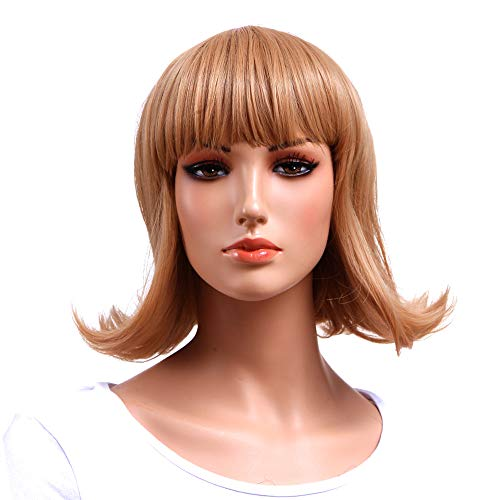 Short Wavy Bob Wigs For White Women Synthetic Blonde Wig with Bang Fashion Cosplay Wig (wavy blonde with bang)