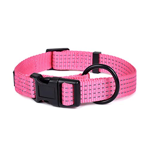 (Mile High Life Night Reflective Four Stripes Pull D-Ring ID Tags Hanger Nylon Dog Collar (Pink, Small Neck 12