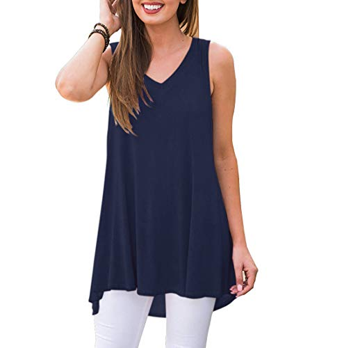Akihoo Women's Summer Sleeveless Swing Shirt Loose Casual Fit Hi-Low Hem Maternity Tank Top 08-Navy Blue 2XL