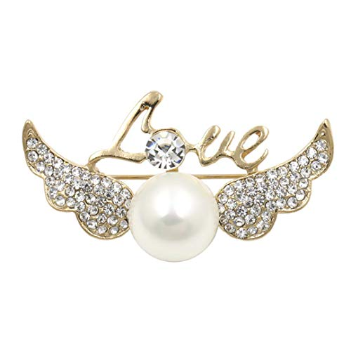 - Brand Crystal Rhinestones Angel Wing & White Imitation Pearls Fashion Brooch Pins For Women Or Girls Gold Color Plated