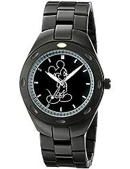 Disney Mens W001900 Mickey Mouse Analog Display Analog Quartz Black Watch