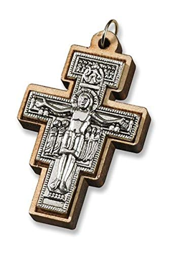 CB Religious Catholic Gift Saint St Francis of Assisi San Damiano Tau Cross Crucifix Pendant ()