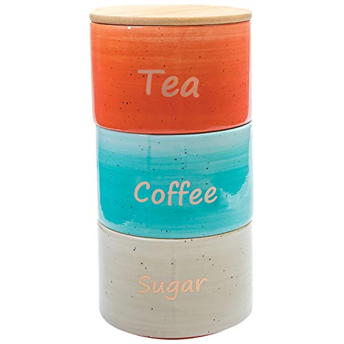 Ceramic Canister Stacking Set For Coffee Tea Sugar - 3 Piece Kitchen Storage Jars with Bamboo Airtight Lid
