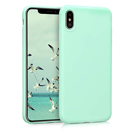 - kwmobile TPU Silicone Case for Apple iPhone Xs Max - Soft Flexible Shock Absorbent Protective Phone Cover - Mint Matte