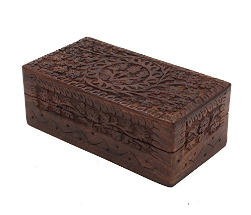 KayJayStyles Hand Carved Tree Of Life Wooden Storage Box (Medium, Tree Of Life) (Wooden Box)
