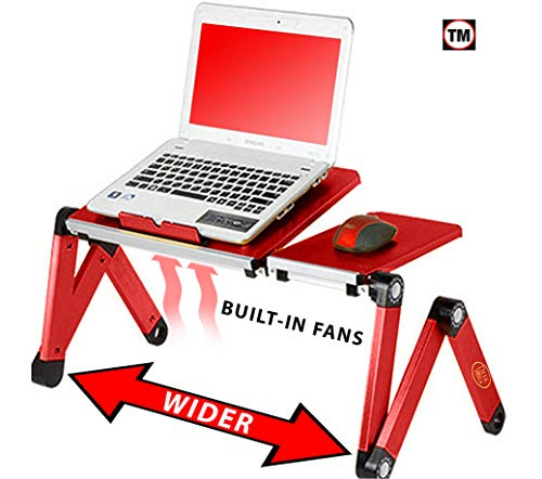 Desk York Portable Table for Computer – Adjustable Light Stand for Laptop – Widest Leg Area in The Market – Recliner Bed Lap Tray – 2 Built in Fans – Mouse Pad and USB Cord Included – Red