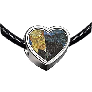 Chicforest Silver Plated Portrait Of Dr Gachet Painting Photo Heart Charm Beads Fits Pandora Charms