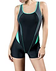 Uhnice Womens Athletic Boyleg One Piece Swimsuit Racing Training Sports Swimwear