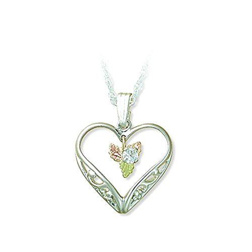 Created White Sapphire with Heart Necklace, Sterling Silver, 12k Green and Rose Gold Black Hills Gold Motif, 18