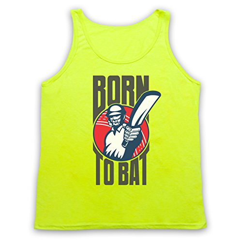 Born To Bat Cricket Slogan Camiseta de Tirantes Neon Yellow
