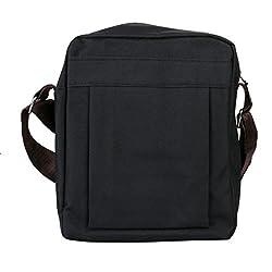Canvas Cross Body Messenger Bag Shoulder Sling Backpack Travel Rucksack (Black)
