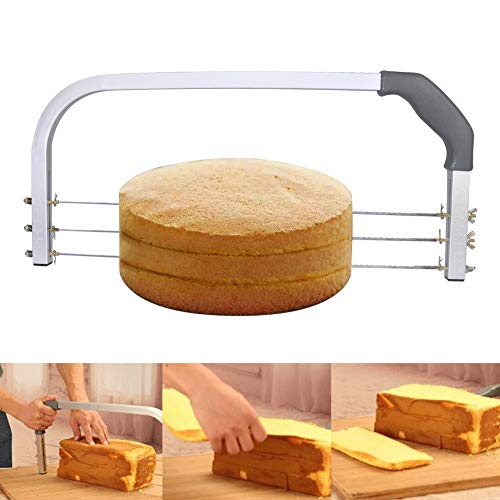 Ansblue Adjustable Cake Leveler Cutter Slicer,Adjustable Cake Leveler Professional Layer Slicer Cutter 3 Blades Stainless Steel Cut Saw - 18