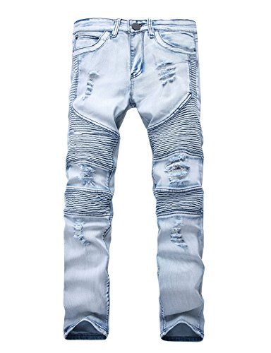 Men's Runway Ripped Distressed Skinny Moto Biker Jeans Light Blue