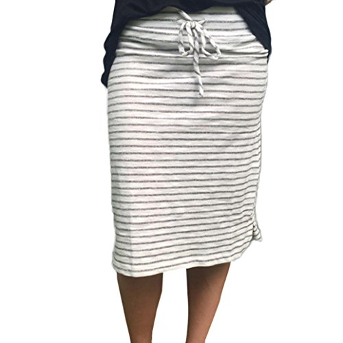 LTUI Casual Stripe Cotton Blend Knee-Length Art High Waist Summer Elastic Short Skirt,So Fashion ()