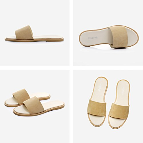 PENGFEI Chanclas de playa para mujer Zapatillas de playa Zapatillas de verano de verano Casual fashion Sandalias planas de mujer Beige Cómodo y transpirable ( Color : Beige , Tamaño : EU39/UK6/L:245mm Beige