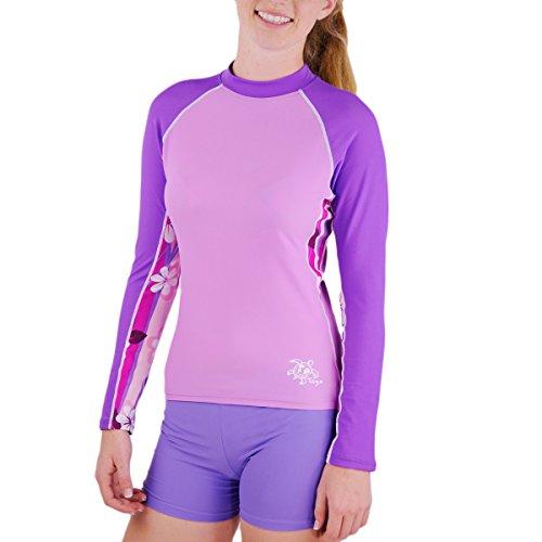 Para mujer Tuga de luz ultravioleta de manga larga de manga corta de mujer de natación - UPF50 + con protección solar - Plumeria rosa o morado blanco y rosa o morado - tamaños XS-XXL morado