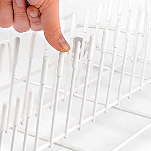 (300 Pieces Universal Dishwasher Rack Tine Prong Repair End Cover Caps,Flexible Round End Caps Shelf Organizer Tip Caps Wire Thread Protector Cover, Round White Vinyl PVC Rubber Cap,15 mm Long (White))