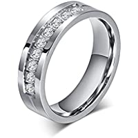 Chryssa 6mm Titanium Steel Carbide Ring with Brilliant CZ Diamonds Mens Wedding Band 5 to 12(SZZ-08)