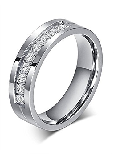 Price comparison product image Chryssa 6mm Titanium Steel Carbide Ring with Brilliant CZ Diamonds Mens Wedding Band 5 to 12(SZZ-08) (Size 7)