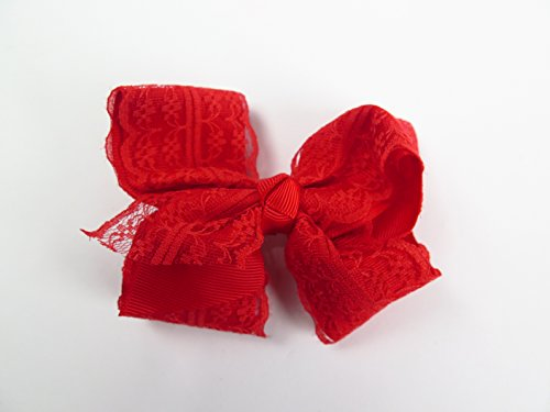 Beautiful Handmade Variety of Bright Colors Grosgrain Ribbon Bows with and without lace closing with Alligator Clip (Red with lace) Bonita Metal Bed
