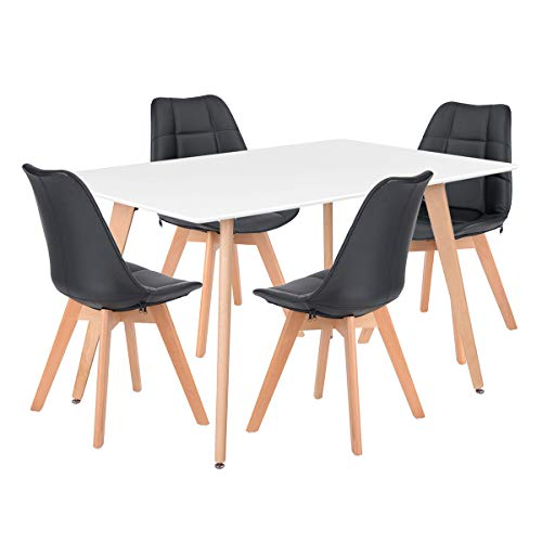HOMY CASA Dining Table Rectangle Leisure Coffee Table Mid Century Modern Kitchen Table Solid Wood Desk, Tea Table Office Conference Pedestal Desk with Natural Wooden Legs and MDF Top 120cm