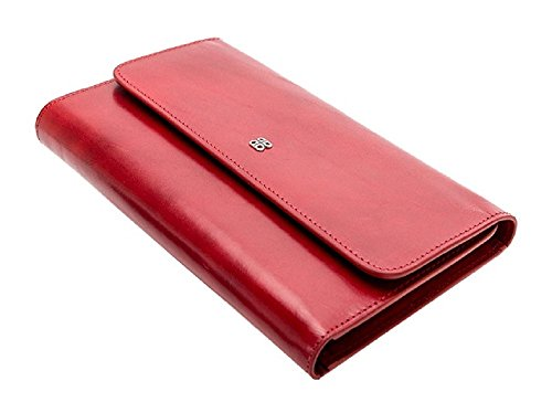 Bosca Womens Old Leather Framed Checkbook Clutch Wallet (Brick (Leather Framed Clutch Wallet)
