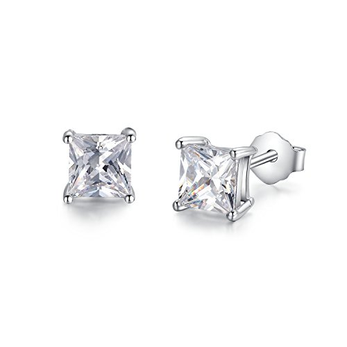 Sterling Silver Simulated Diamond Princess Cut CZ Stud Earrings 3mm (3mm Princess Stud Earrings)