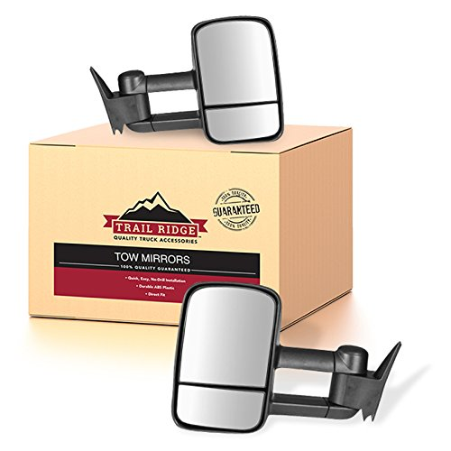 Trail Ridge Tow Mirror Manual Black Pair Set of 2 for GM C/K Pickup SUV