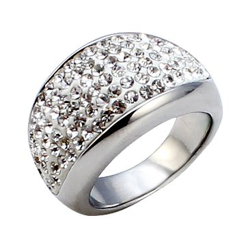 3920017b09a1f Chunky Silver ring with Swarovski crystals - Round crystal design ...