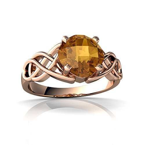 14kt Rose Gold Citrine 6mm Cushion Celtic Knot Ring - Size 7