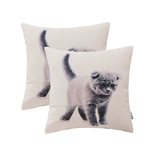 HWY 50 Romance Grey Cute Cat Throw Pillows Cover Couch Sofa 18 X 18 inch, Set of 2 Thicken Cotton Linen Digital Printed Decorative Throw Pillows Cases Bed, Cushion Covers