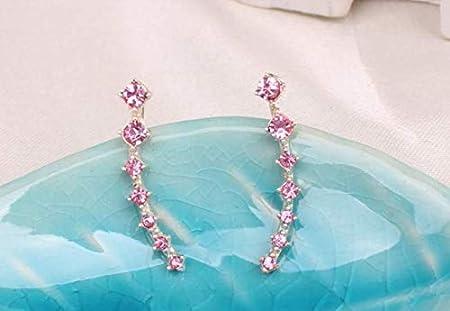 Silver Yuren 7 Crystals Ear Cuffs Vines Climbers Wrap Pierced Pins Hook Earrings CZ Crystal
