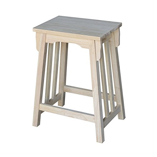 International Concepts S-324 24-Inch Mission Counter Height Stool, Unfinished ()