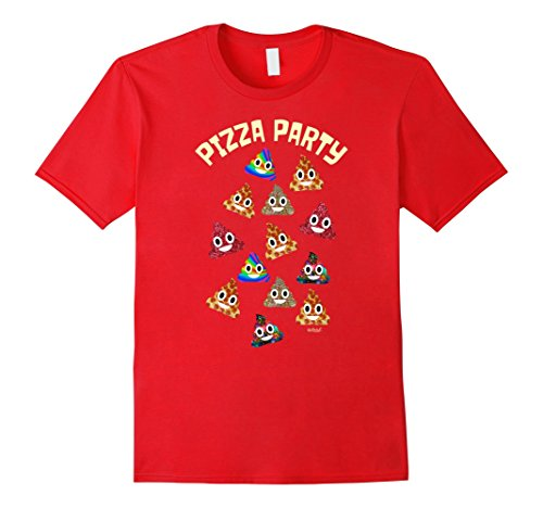 fdfeee20f6 Mens Poop Emoji Shirt Pizza Party Rainbow Poop Pizza Poo Large Red