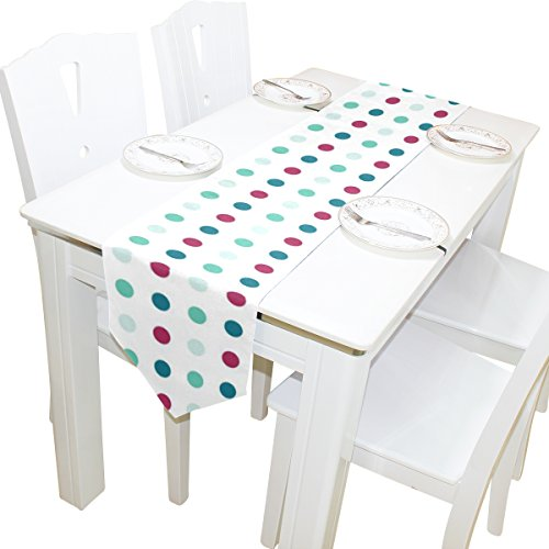 ABLINK Red Green Dots 100% polyester characteristic print double-sided Table Runners
