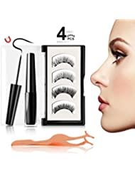 JDO Magnetic Eyeliner with Magnetic Eyelashes Kit, Waterproof Black Smooth Liquid Eyeliner and 2 Styles Ultra-thin 3D Reusable 5 Magnets False Lashes with Applicator for Party Dating Wedding (4 PCS)