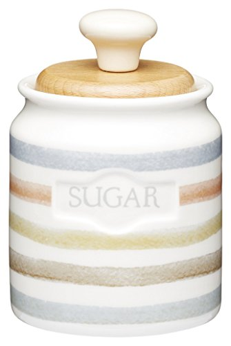 Ceramic Kitchen Craft - Kitchen Craft Classic Collection Striped Ceramic Sugar Pot, 450 ml (16 fl oz) - Cream