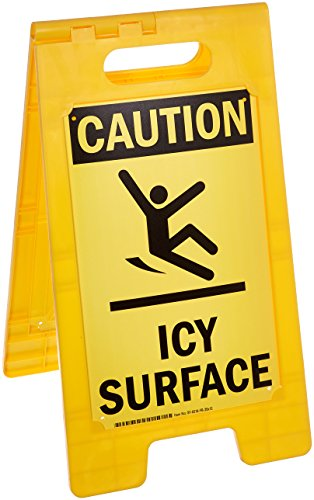 caution icy surface folding floor sign by