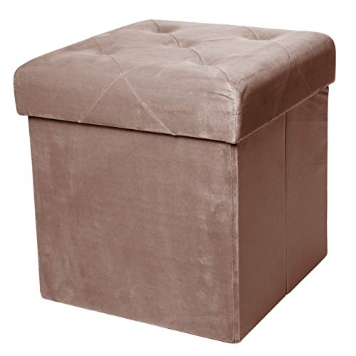 Red Co. Square Luxury Storage Ottoman with Padded Seat, Upholstered Collapsible Folding Bench Foot Rest, Velvet Taupe, 15 Inches